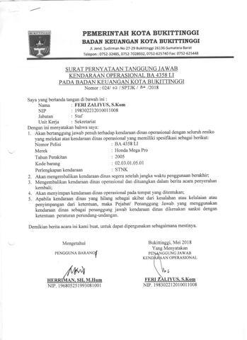 Surat Pernyataan Tanggung Jawab Kendaraan Operasional Ba4358li Sikeda Jikeda Pemerintah Kota Bukittinggi