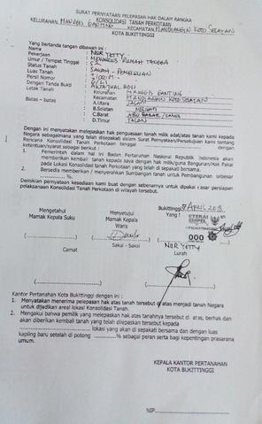 Surat Pernyataan Pelepasan Hak Dalam Rangka Konsolidasi ...